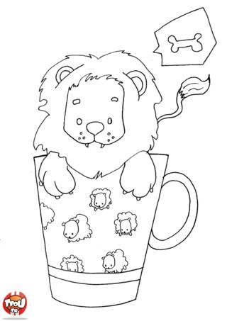 Coloriage: Lion dans une tasse