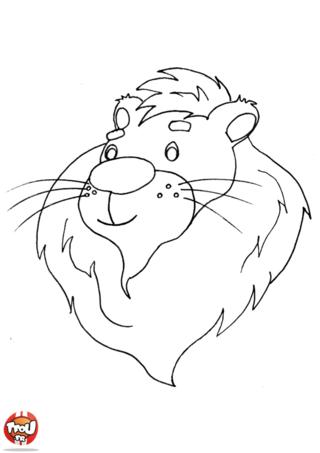 Coloriage: Tête de lion