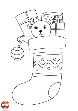 Coloriage: La chaussette de Noël