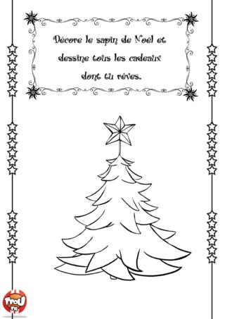 Activité : Décore le sapin et dessine les cadeaux sur ce joli dessin. Crayons de couleurs ou feutres c'est à toi de jouer !