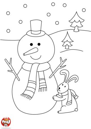 Coloriage: Lapin et bonhomme de neige