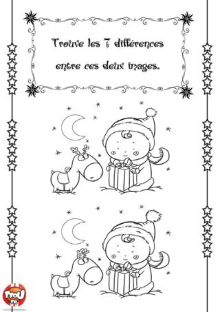 Coloriage: Les 7 différences de Noël. Trouve vite les 7 différences entre ces deux images. A toi de jouer !