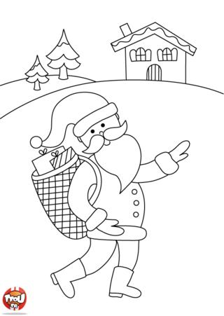Coloriage: Père-Noël livre ses cadeaux
