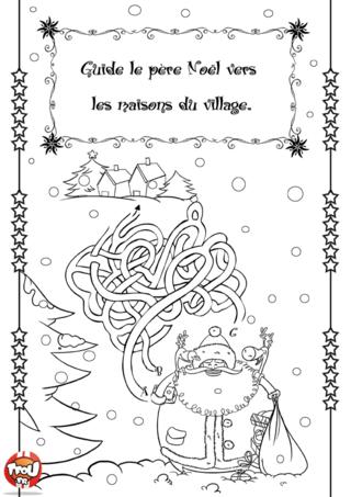 Activité : Labyrinthe de Noël 1. Aide vite le père Noël à retrouver le chemin du village pour faire sa distribution de cadeaux.