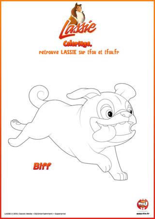 Fait comme Biff qui court vers l'aventure, imprime rapidement ce coloriage gratuit pour enfants sur TFou.fr et laisse ton imagination s'aventurer sur ce coloriage. Prends tes plus beaux crayons de couleur ou feutres et amuse-toi ! Tu peux imaginer Biff courir dans la plaine avec ses amis ou bien courir pour rejoindre Lassie dans une de ces aventures. A toi de laisser faire ton esprit. Si tu aimes les coloriages de Lassie, tu peux en trouver plein d'autres en allant sur le site TFou.fr. A toi les grandes aventures !