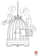 Coloriage oiseau Titi et Lili les petites chanteuses