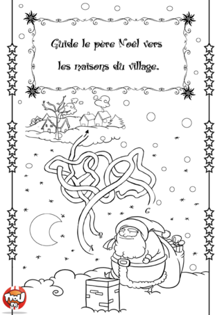 Coloriage: Labyrinthe de Noël 2. Aide vite le père Noël à retrouver le chemin du village pour faire sa distribution de cadeaux.