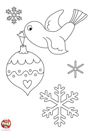 Coloriage: Oiseau de Noël