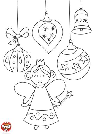 Coloriage : imprime vite ton coloriage ange de Noël sur TFou.fr. Colorie avec plein de belles couleurs l'ange et les boules de Noël. C'est Noël. Plein de cadeaux t'attendent si tu as été sage comme l'ange cette année. Retrouve vite plein de coloriage sur Noël sur TFou.fr. Tu pourras offrir plein de jolis coloriages à tes proches. En plus, tu gagnes des points à l'impression de chaque coloriage. Rejoins vite l'esprit de Noel avec ses sapins et ses boules, les anges, les pères Noël... plein de coloriages t'attendent. Et passe de joyeuses fêtes avec TFou.fr !