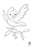 Coloriage-oiseau Annabelle le joyeux petit moineau