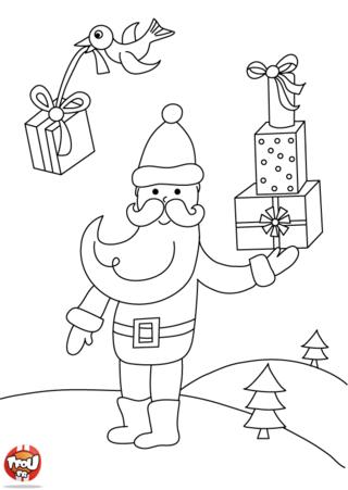 Coloriage: Père-Noël porte des cadeaux