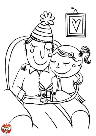 Coloriage : Dépêche-toi d'imprimer gratuitement ce super coloriage spécial fête des pères avec TFou.fr ! Découvre une gentille petite fille qui offre un superbe cadeau à son papa pour lui faire plaisir le jour de la fête des pères ! Ils sont très heureux ! A toi de jouer en prenant tes plus beaux crayons de couleur pour décorer ce super coloriage gratuit spécial fête des pères sur TFou.fr ! En l'imprimant, tu vas gagner un maximum de points pour obtenir les badges de tous tes héros préférés avec Tfou.fr !