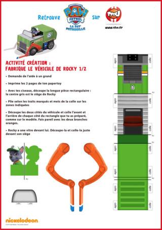 Si tu aimes le camion de Rocky de Pat'Patrouille, imprime gratuitement le paper toy sur TFou.fr. Tu pourras ainsi construire le camion de Rocky. Retrouve également plein d'autres coloriages et activités de Rocky sur TFou.fr.