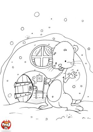 Coloriage: La maison de la marmotte