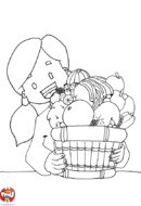 Corbeille et petite fille
