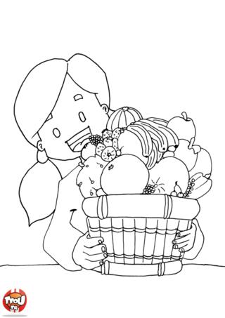 Coloriage: Corbeille et petite fille