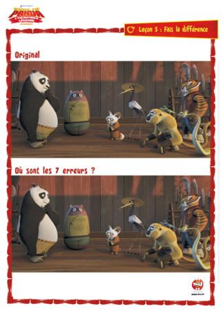 Imprime et cherche les 7 différences entre les deux photos de Kung Fu Panda