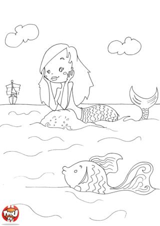 Coloriage: La sirène, le poisson et le bateau