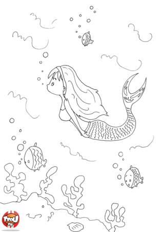Coloriage: La sirène qui nage