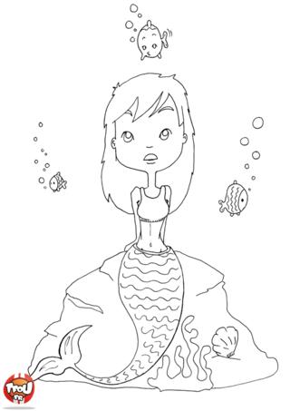 Coloriage: Sirène pensive