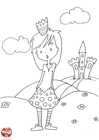 Coloriage: La princesse à la jupe à pois