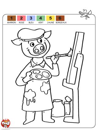 Coloriage: Cochon peintre