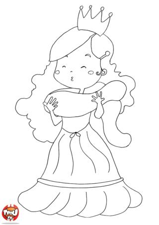 Coloriage: La princesse à l'écharpe