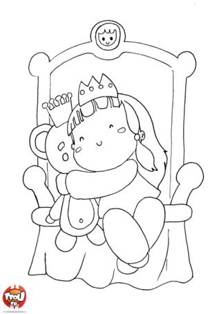 Coloriage: Bébé princesse et son nounours