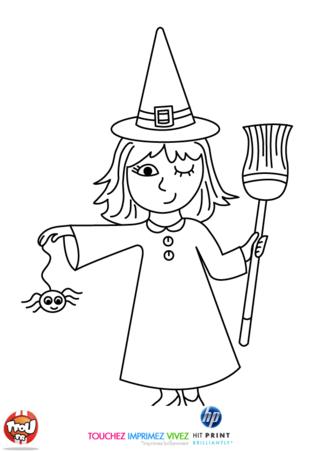 Coloriage: La petite sorcière et l'araignée