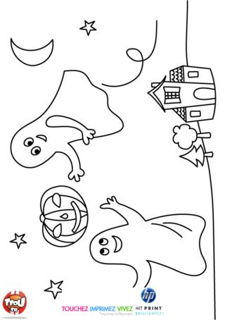 Colorie vite ce super coloriage d'Halloween et éclate-toi sur TFou.fr ! Halloween est la fête de l'année réservée aux sorcières et sorciers, aux fantômes, aux squelettes, aux vampires et à toutes les autres créatures magiques. Sur celui-ci, retrouve deux fantômes et une citrouille magique qui s'amusent dans la nuit en se promenant dans le ciel étoilé. Ils sont près de leur maison, un manoir hanté dans lequel ils vivent avec tous leurs amis. Découvre ce coloriage gratuit à imprimer et met des couleurs au gré de tes envies.