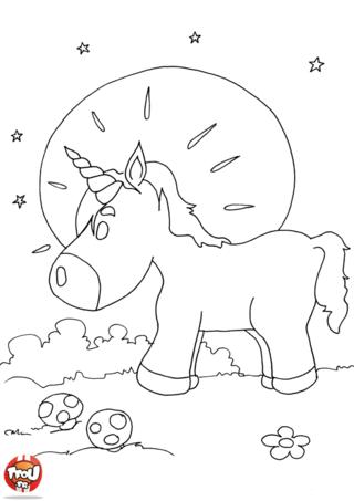 Coloriage: Licorne au clair de lune