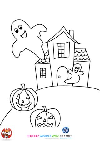 Coloriage: Deux fantômes joyeux