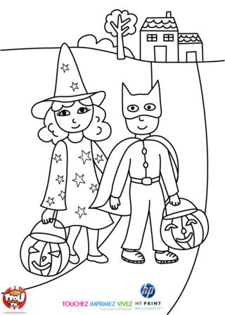 Coloriage: Les enfants sont déguisés