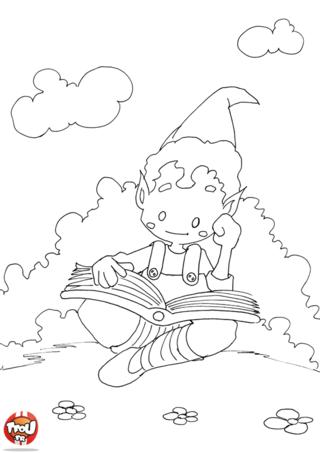 Coloriage: Elfe qui lit