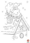Coloriage-Noel-père noel sur la cheminée