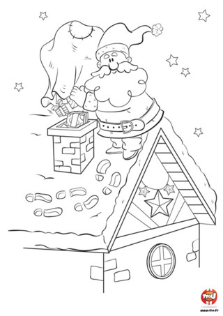 Ho ho ho...c'est bientôt Noel ! Tfou t'offre ce super coloriage gratuit à imprimer pour enfant spécial Noel. Dans ce coloriage, le Père Noel fait sa tournée pour donner des cadeaux à tous les enfants de la terre qui ont été sages. Il est monté sur le toit en cette nuit magique et étoilée pour faire passer les nombreux cadeaux par la cheminée. En attendant qu'il passe chez toi le 25 décembre, imprime vite et colorie ce magnifique coloriage Père Noel sur TFou !