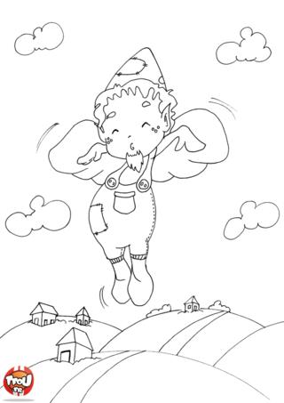 Coloriage: Elfe qui vole