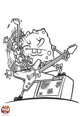 Coloriage: Bob l'éponge guitar hero