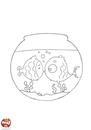 Imprime gratuitement le coloriage des poissons amoureux sur TFou.fr. Ils sont si mignons dans leur bocal à fêter la Saint Valentin.