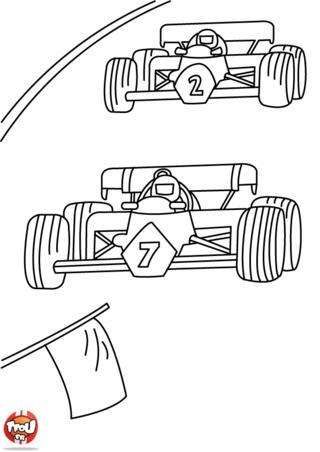 Coloriage: Formule 1 : les pilotes font la course