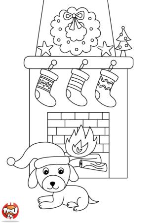 Coloriage: Chien veille devant la cheminée