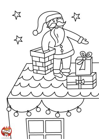 Coloriage: Le père Noël distribue les cadeaux