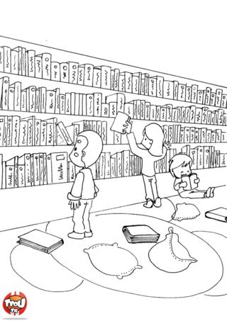 Coloriage: La grande bibliothèque