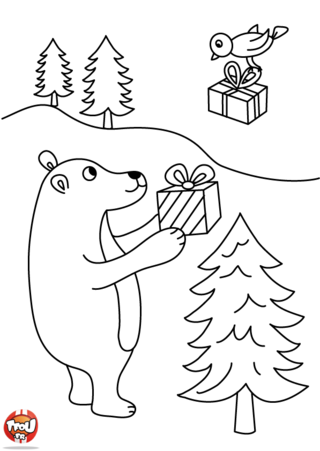 Coloriage: Mr Ours et Mlle oiseau s'offre des cadeaux