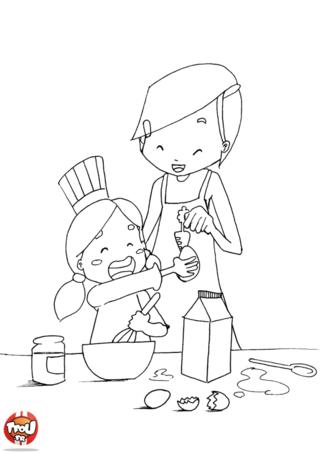 Coloriage: La cuisine avec Maman