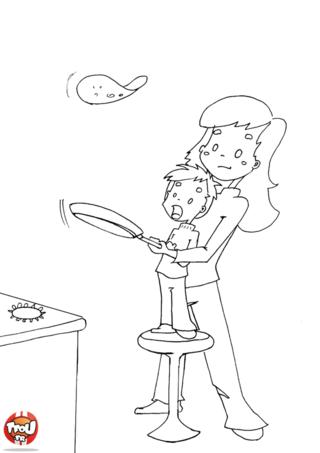 A la Chandeleur, on adore faire des crêpes avec maman. C'est si amusant de les faire sauter dans la poêle ! Imprime le coloriage Les crêpes avec maman sur TFou.fr.