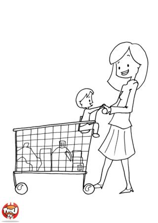 Coloriage: Au supermarché