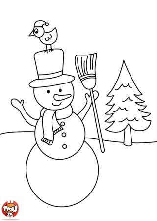 Coloriage: Le bonhomme de neige et l'oiseau