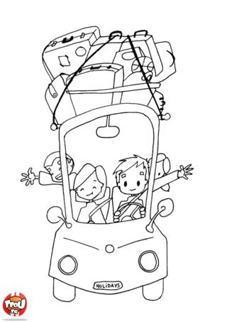 Coloriage: imprime gratuitement ce coloriage de départ en vacances sur TFou.fr. Quel plaisir de faire ses valises pour partir profiter des vacances en famille. A tes crayons !