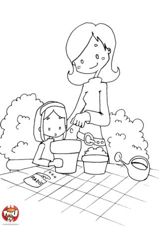 Coloriage: Jardinage avec Maman